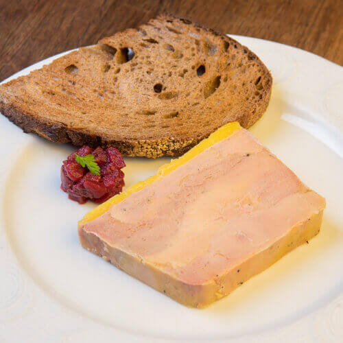 Foie gras terrine with toasted sourdough bread